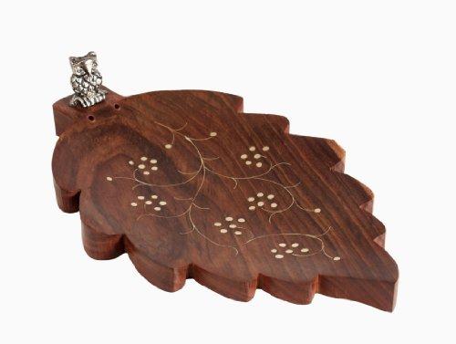 regali di Natale del Ringraziamento bastone di incenso bruciatore di supporto di legno Foglia decorazione a forma di Ornata con gufo Scultura
