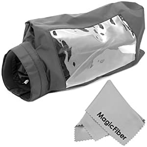 Pro Rain Cover Protector for Video Camera Camcorder + Premium MagicFiber Microfiber Cleaning Cloth