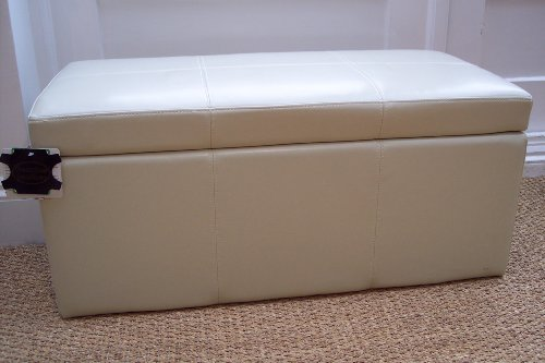 BRAND NEW 100% Real Leather Ivory Ottoman Toy box seat