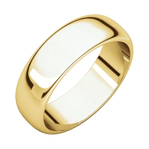 06.00 Mm Half Round Wedding Band Ring In 14K Yellow Gold (Size 13 )