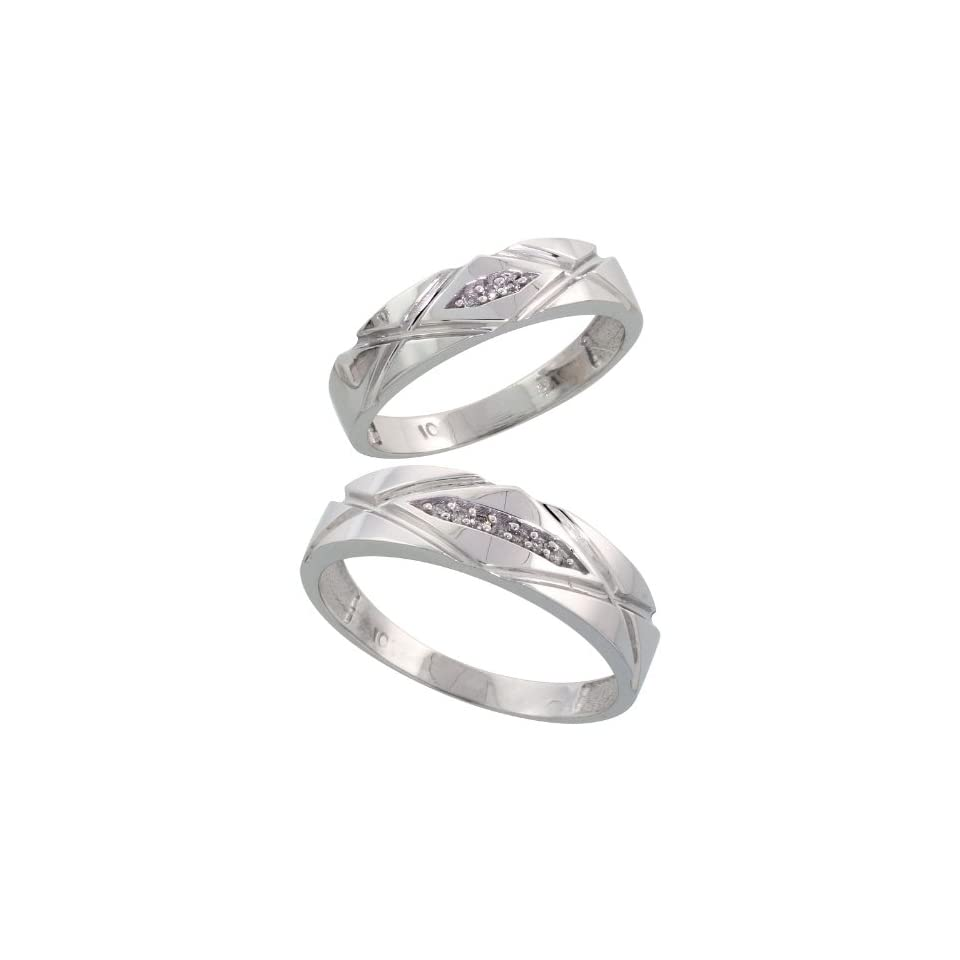 10k White Gold Diamond Wedding Rings Set for him 6mm and her 5mm 2 Piece 0.06 cttw Brilliant Cut, ladies sizes 5   10, mens sizes 8   14