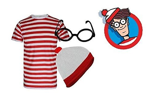 [MENS BOYS RED & WHITE STRIPED WHERE WALLY STYLE T SHIRT HAT GLASSES FANCY DRESS (11-12 years) by] (Wheres Wally Fancy Dress Kids)