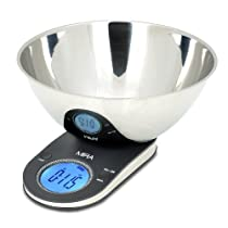 MIRA Digital Kitchen Scale with Stainless Steel Bowl (ST95) Food Scale Baking Scale