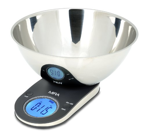 stainless steel mixing bowl and scale