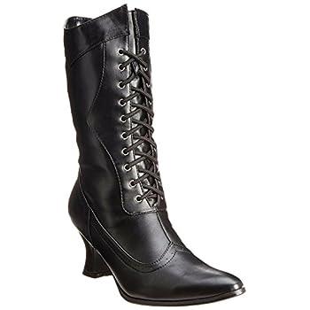 Ellie Shoes Women's Amelia Victorian Boots Black Polyurethane Vintage Ankle Boot with Zipper