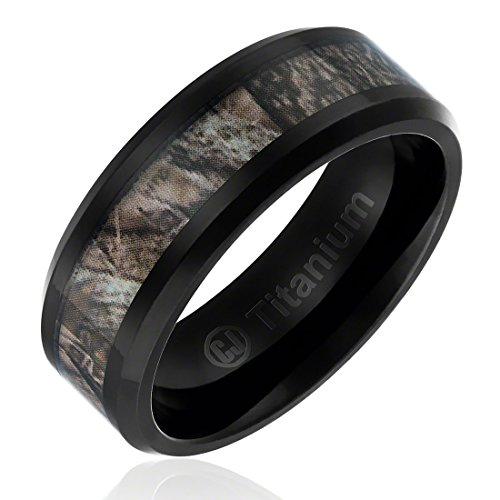 8MM Comfort Fit Titanium Hunting Ring | Black Plated Wedding Band with Camouflage Inlay | Beveled Edges [Size 10] (Camouflage Rings For Men compare prices)