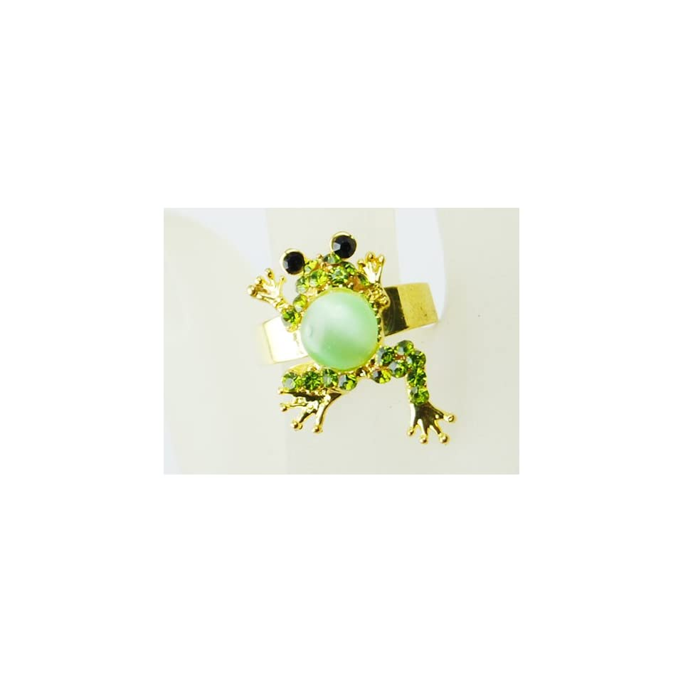 Peridot Body Emerald Green Crystal Rhinestone Gold Tone Toad Froggy Frog Ring
