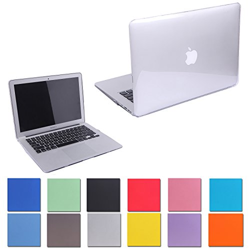 """HDE Glossy Hard Shell Clip Snap-on Case for MacBook Air 13"""" - Fits Model A1369 / A1466 (Clear)"""