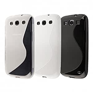 Ecence Ensemble de 3 coques en silicone TPU pour Samsung Galaxy S3 i9300 - 1 noire + 1 blanche + 1 transparente