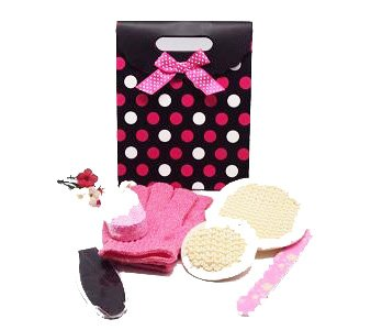 6 piece exfoliating beauty set in a pink polka dot tab top box gift bag (exfoliating gloves, pumice stone, emery board, foot file and facial & body sisal pads) - beauty