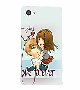 PrintVisa Cute Cartoon Romantic Lovers 3D Hard Polycarbonate Designer Back Case Cover for Sony Z5 Mini :: Z5 Compact