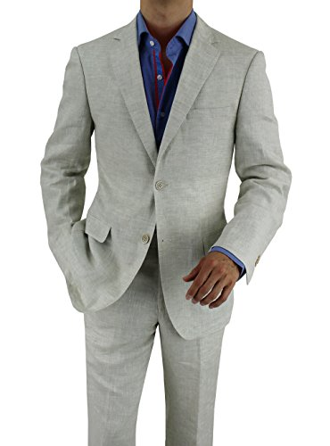 Bianco B Men S Linen Suit Modern Fit Two Button Jacket