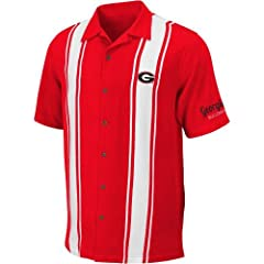 NCAA Georgia Bulldogs Passage Camp Button-Up Shirt - Red by Chiliwear LLC