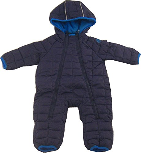 Snozu Infant and Toddler Fleece Lined Ultralight Quilting One Piece Snowsuit, Navy/Sky, 3/6 Months