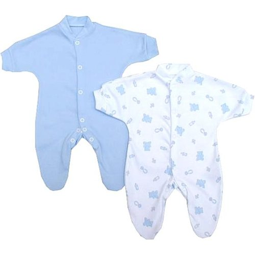 Premature Early Baby Clothes Pack of 2 Sleepsuits / Babygros 0-1.5lb,3.5lb,5.5lb,7.5lb Blue Prem 2