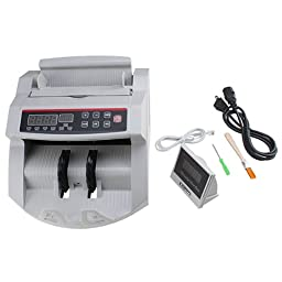 AGPtek Bill Money Counter with Display/Currency Cash Counter Bank Machine, UV(ultraviolet) and MG(magnetic) Counterfeit Detector