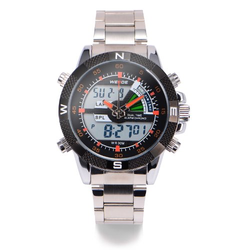 Led Digital Mens Boys Stainless Steel Stopwatch Alarm Analogue Sport Quartz Watch + Gift Box Us Stock