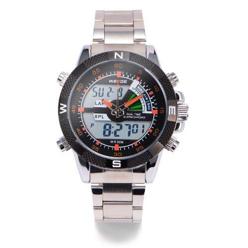 Led Digital Mens Boys Stainless Steel Stopwatch Alarm Analogue Sport Quartz Watch + Gift Box Us Stock