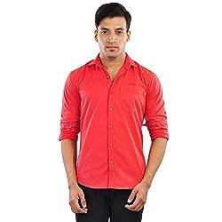 CREEDS Men's Red Blue Casual Shirt(Medium)