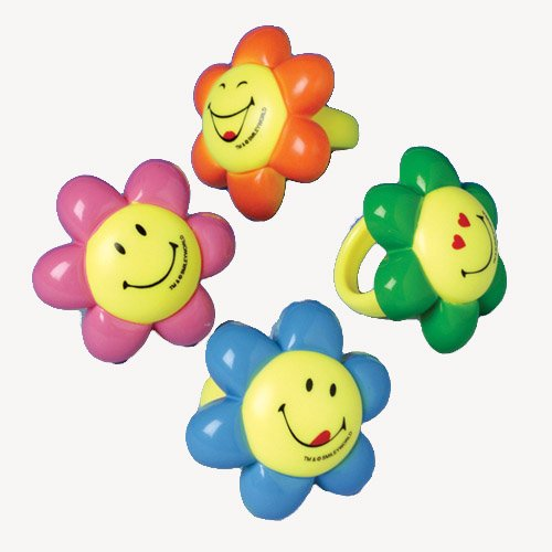 Smiley Face Flower Rings - 1