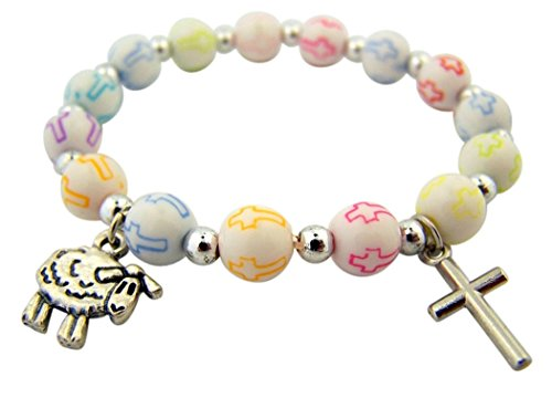Acrylic Cross Bead Lamb and Crucifix Charm Stretch Bracelet, 5 Inch