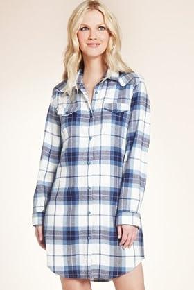 Pure Cotton Long Sleeve Check Nightshirt