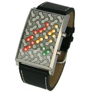 Cool Digital LED Watch Peanut Style Three Colored LED Digital Display Futuristic Japanese Style Black Faux Leather Band – PEANUTLED