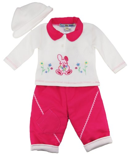 Take Me Home Baby Girls Easter Bunny Jacket Pants And Head 3Pc 3-6M Pink back-334535
