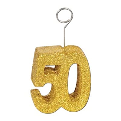 Gold Glittered 50 Photo/Balloon Holder Party Accessory (1 count)