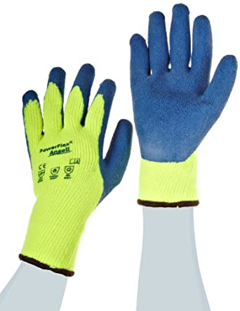Ansell Powerflex 80-400 Natural Rubber Latex Glove, Coated on Yellow Thermal Terry Liner