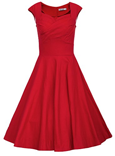 MUXXN Women's 1950s Vintage Retro Capshoulder Party Swing Dress (L, Red)