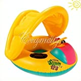 Inflatable Sunshade Baby Float Seat Boat Adjustable Water Swim Pool Ring Yellow