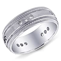 14K White Gold Satin Braid Edge Men's Diamond Band Ring