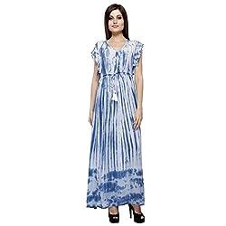 Hanstann Women's A-Line Dress (HTDRBU01_Blue White_XX-Large)