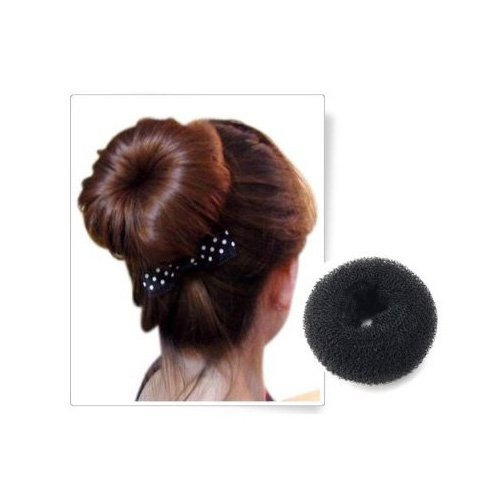 SODIAL(TM) BLACK BUN HAIR FORMER DONUT DOUGHNUT SHAPER RING STYLER HAIRDRESSING Diameter:9cm
