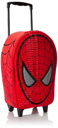 Marvel Spiderman Head Shaped Rolling Luggage, Red, One Size