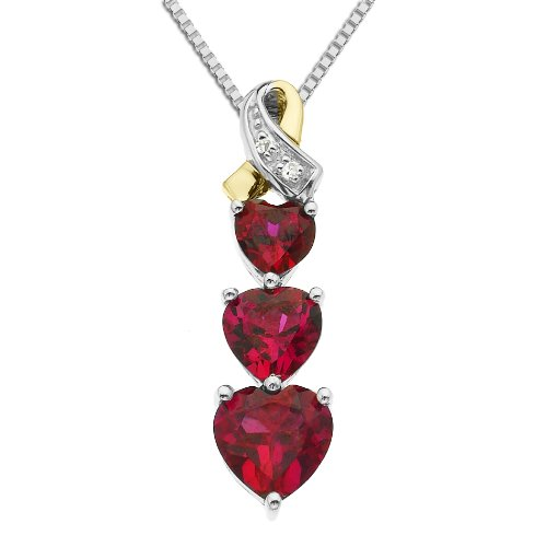 XPY Sterling Silver and 14k Yellow Gold Diamond and Heart-Shaped Created Ruby Pendant Necklace (0.008cttw, I-J Color, I3 Clarity), 18