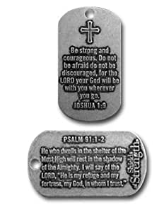 Joshua 1:9 with Cross Biblical Verse Necklace