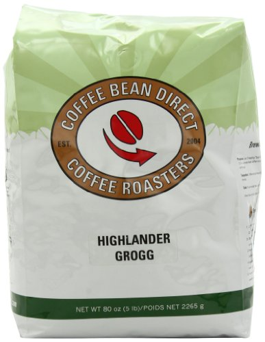 Coffee Bean Direct Highlander Grogg Flavored, Whole Bean Coffee, 5-Pound Bag