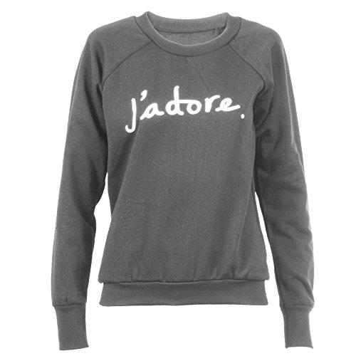 Il nostro amore Jadore Sweater stampa sweat-shirt Pullover maglione donna Obey Supreme Disobbedire Eleven hang over con cappuccio boníour stronzi High Star Dope Grigio chiaro M/L