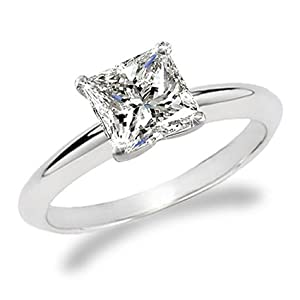 14k white gold Princess Cut Solitaire Diamond Engagement Ring (1.5 ct ...