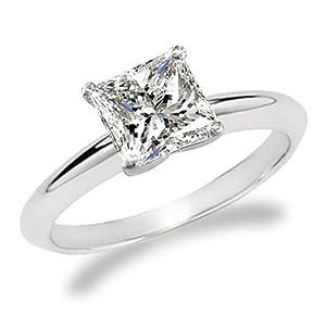 14k white gold Princess Cut Solitaire Diamond Engagement Ring (1.5 ct ...