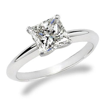 For sale 3/4 Carat Princess Cut Diamond Solitaire Engagement Ring 14K White Gold (J, I1, 0.74 c.t.w) Very Good Cut