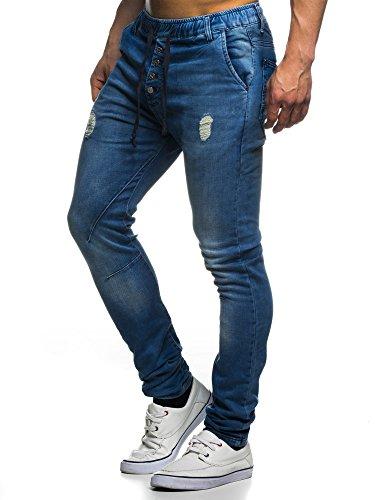 LEIF NELSON Herren Hose Jogg Jeans Freizeithose LN1405-3399HBL; W32L32, Blau