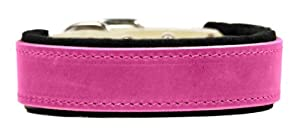 """Dean & Tyler """"DT Delight"""" 24-Inch by 2-Inch Leather Dog Collar with Felt Padding and Strong Hardware, Fits Neck 22-Inch to 26-Inch, Pink"""