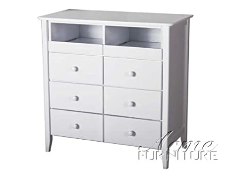 Tv Console with 6 Drawers in White Finish Acs009168