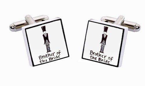 Sonia Spencer England Bone China Square Silver Plated Back Classic Brother Of The Bride Cufflink