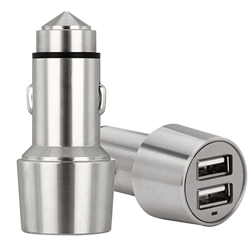 Stainless Steel 4.8A Car Charger, icyber ® 24W/4.8A rapid car charger with Dual USB Port for iPhone 6 5S 5 5C 4S 4, Samsung Galaxy S5 / S4 / S3, HTC, LG.. - Emergency Escape Security Hammer (47 Car Battery compare prices)