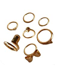 Aaishwarya Golden Quirky Midi Ring Sets (Pack Of 7)