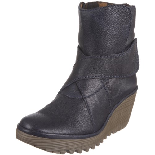 Fly London Women's Yeddo Wedge Boot Leather Navy P500084017 5 UK